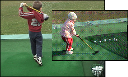 Dr. Mauro's son Alek (age 4) and daughter Ella (age 5), whacking balls at the golf course with thier father.